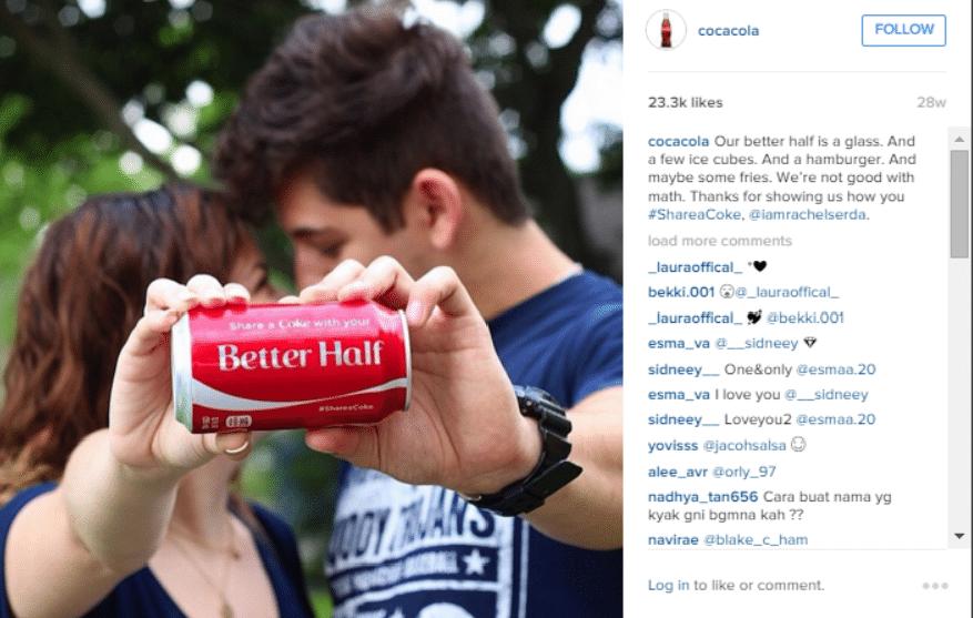 instagram to drive sales - cocacola