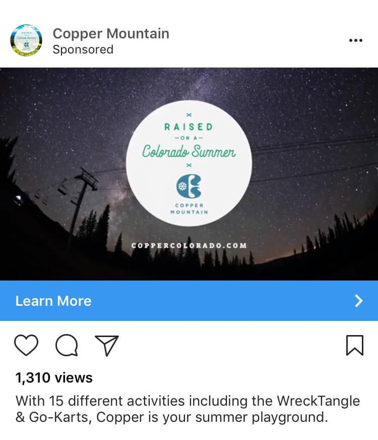 Instagram ads cost example