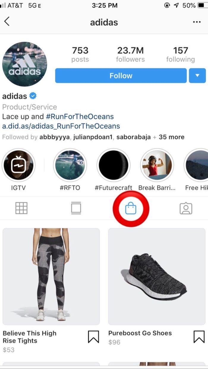 adidas instagram shop