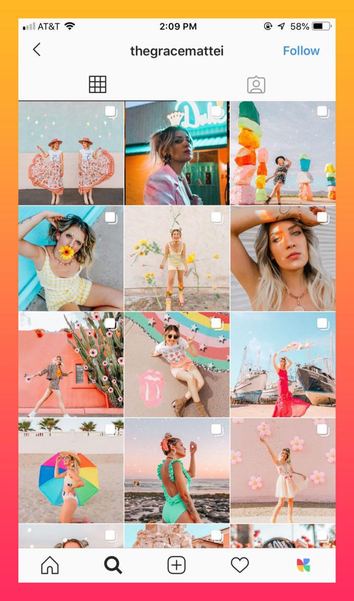 bold and vibrant colored Instagram theme