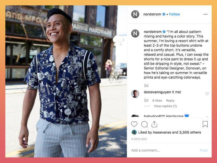 example of nordstrom spotlighting an employee in their Instagram post