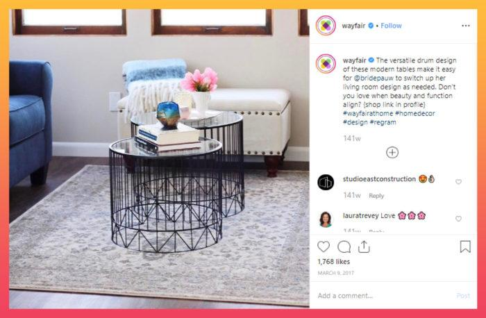 user-generated content from wayfair to increase Instagram followers