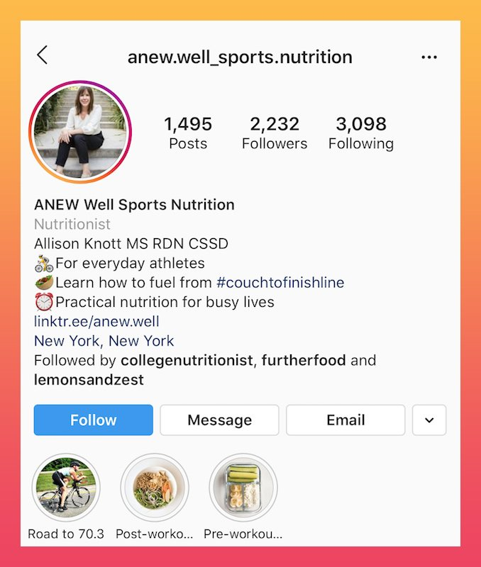 example of a sports nutrition bio