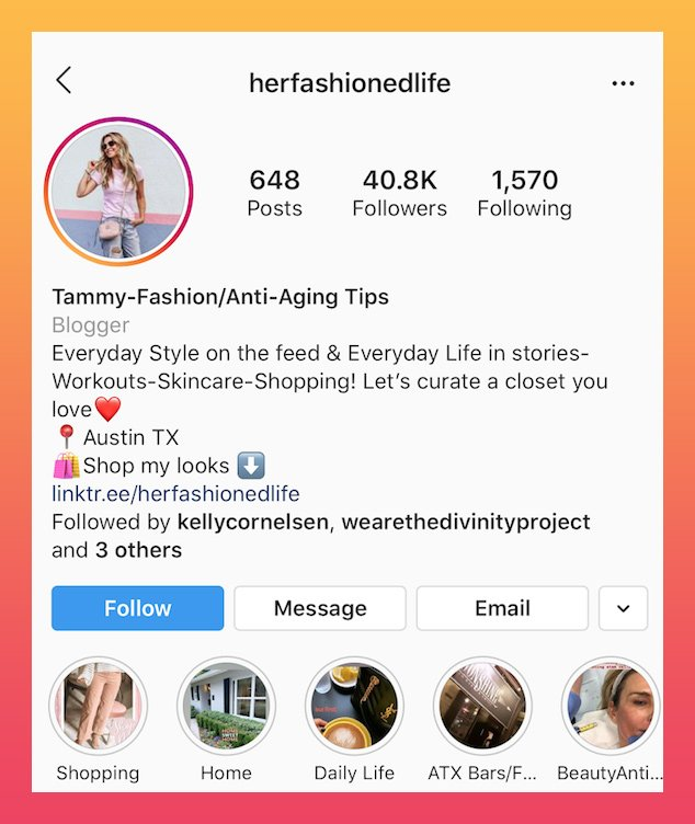 fashion Instagram bio example