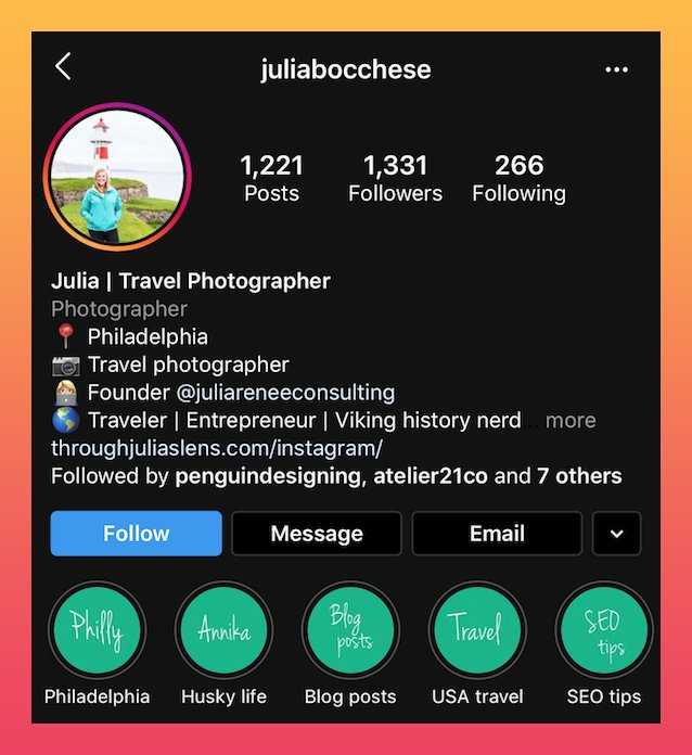 photographer Instagram bio example