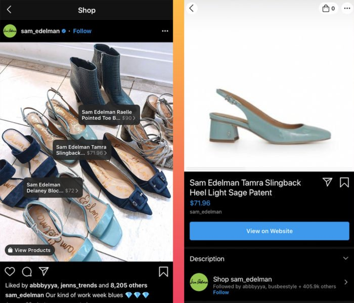 shoppable Instagram product tagging post