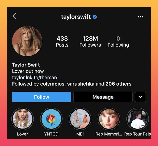 Taylor swift's IG bio