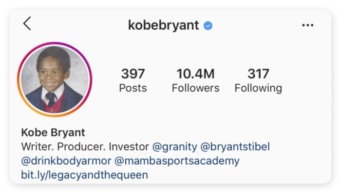 Kobe Bryant's verified page on Instagram