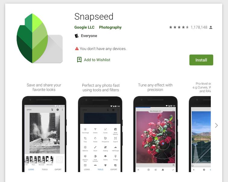Instagram tools - Snapseed