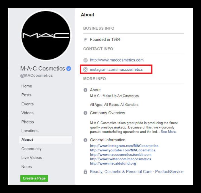 mac instagram promotion through facebook