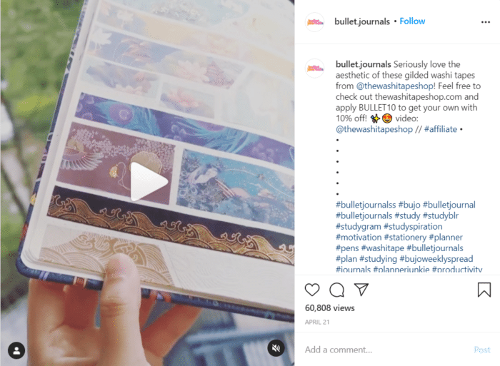 affiliate links on Instagram
