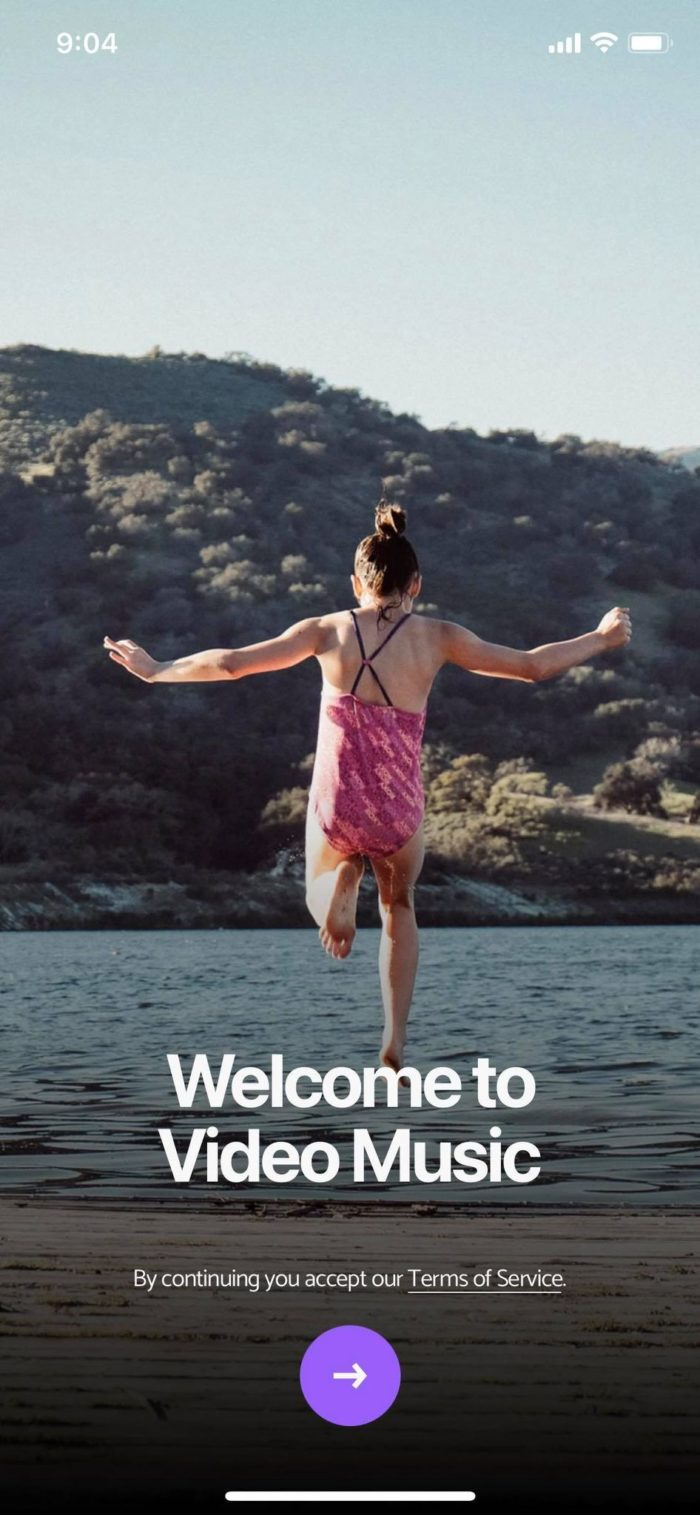 Photo of BackgroundMusic welcome page before entering the app