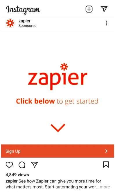 zapier ad with CTA