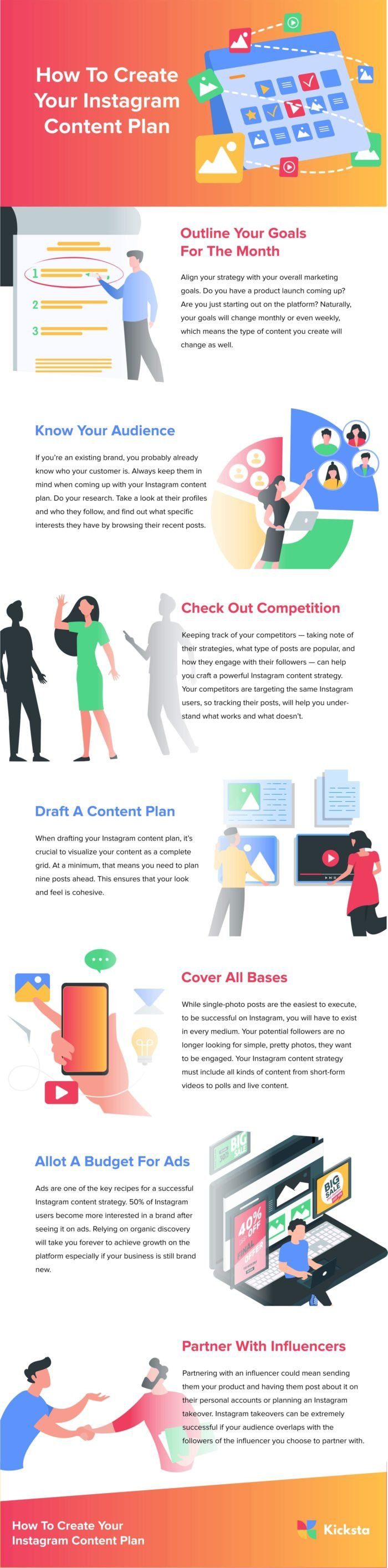 Infographic on how to create an Instagram content plan