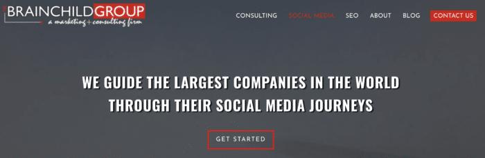 Brainchild group social media consultant company homepage