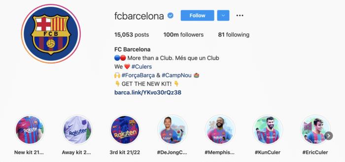 Perfil de Instagram del FC Barcelona